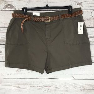 Style & Co Shorts Chinos Brown Belted Mid-Rise